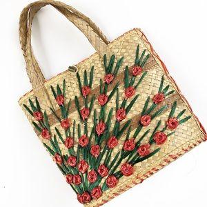 Handbags - Beautiful Floral Straw Bag VVGUC